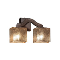 Justice Design FSN-8975-55-MROR-DBRZ Fusion 2 Light 16 inch Dark Bronze Wall Sconce Wall Light in Mercury Glass, Rectangle, Fluorescent photo thumbnail