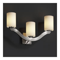 Justice Design Fusion Bend 3-Light Wall Sconce (Style 2) in Brushed Nickel FSN-8976-10-OPAL-NCKL