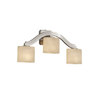 Justice Design Fusion Bend 3-Light Wall Sconce (Style 2) in Brushed Nickel FSN-8976-30-WEVE-NCKL