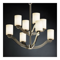 Justice Design Fusion Bend 8-Light 2-Tier Chandelier in Brushed Nickel FSN-8978-10-OPAL-NCKL