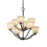 Justice Design Fusion Bend 8-Light 2-Tier Chandelier in Brushed Nickel FSN-8978-40-WEVE-NCKL