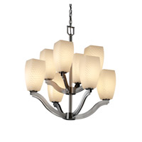 Justice Design Fusion Bend 8-Light 2-Tier Chandelier in Brushed Nickel FSN-8978-65-WEVE-NCKL