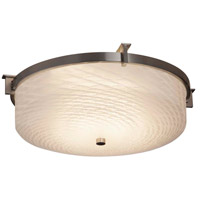 Justice Design FSN-8985-OPAL-MBLK-LED2-1400 Fusion LED 16 inch Matte Black Flush Mount Ceiling Light in 1400 Lm LED, Opal