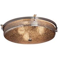 Justice Design FSN-8987-MROR-DBRZ Fusion 3 Light 21 inch Dark Bronze Flush Mount Ceiling Light in Mercury Glass