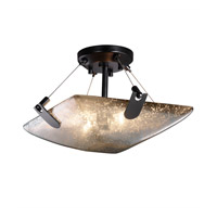 Fusion 2 Light 16 inch Matte Black Semi-Flush Bowl Ceiling Light in Mercury Glass, Square Bowl
