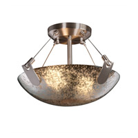 Fusion 2 Light 21 inch Brushed Nickel Semi-Flush Bowl Ceiling Light in Mercury Glass, Round Bowl