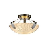 Justice Design FSN-9610-35-WEVE-NCKL Fusion 2 Light 21 inch Brushed Nickel Semi-Flush Bowl Ceiling Light in Weave, Round Bowl