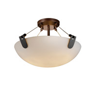 Justice Design FSN-9611-35-OPAL-DBRZ Fusion 3 Light Dark Bronze Semi-Flush Bowl Ceiling Light in Opal, Incandescent photo thumbnail