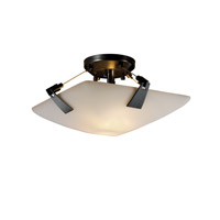 Justice Design FSN-9630-25-OPAL-MBLK Fusion 2 Light 16 inch Matte Black Semi-Flush Bowl Ceiling Light in Opal, Square Bowl photo thumbnail