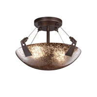 Justice Design FSN-9630-35-MROR-DBRZ Fusion 2 Light Dark Bronze Semi-Flush Bowl Ceiling Light in Mercury Glass, Round Bowl photo thumbnail