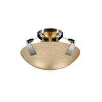 Justice Design FSN-9630-35-WEVE-NCKL Fusion 2 Light 21 inch Brushed Nickel Semi-Flush Bowl Ceiling Light in Weave, Round Bowl