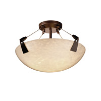 Fusion 3 Light Dark Bronze Semi-Flush Bowl Ceiling Light in Droplet