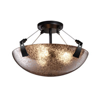 Justice Design FSN-9631-35-MROR-MBLK Fusion 3 Light Matte Black Semi-Flush Bowl Ceiling Light in Mercury Glass photo thumbnail