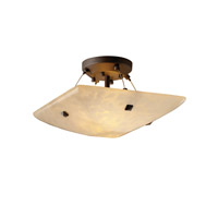 Fusion 2 Light 14 inch Dark Bronze Semi-Flush Bowl Ceiling Light in Pair of Square with Points, Droplet, Square Bowl