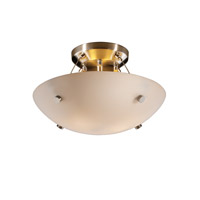 Fusion 2 Light Brushed Nickel Semi-Flush Bowl Ceiling Light in Pair of Cylinders, Opal, Round Bowl