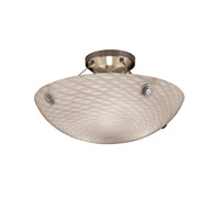 Justice Design FSN-9651-35-WEVE-NCKL-F6 Fusion 3 Light 21 inch Brushed Nickel Semi-Flush Bowl Ceiling Light in Concentric Circles, Weave photo thumbnail