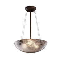 Fusion 3 Light Dark Bronze Pendant Bowl Ceiling Light in Pair of Cylinders, Mercury Glass