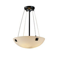 Justice Design FSN-9661-35-OPAL-MBLK-F5 Fusion 3 Light Matte Black Pendant Bowl Ceiling Light in Concentric Squares, Opal photo thumbnail