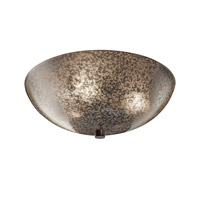 Fusion 3 Light Dark Bronze Semi-Flush Bowl Ceiling Light in Mercury Glass