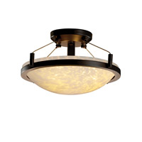 Fusion 2 Light Dark Bronze Semi-Flush Bowl Ceiling Light in Droplet
