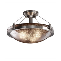 Fusion 3 Light 21 inch Brushed Nickel Semi-Flush Bowl Ceiling Light in Mercury Glass