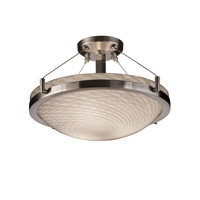 Fusion 3 Light 21 inch Brushed Nickel Semi-Flush Bowl Ceiling Light in Weave