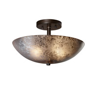 Fusion 2 Light 21 inch Dark Bronze Semi-Flush Bowl Ceiling Light in Mercury Glass