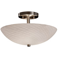 Fusion 2 Light 14 inch Brushed Nickel Semi-Flush Bowl Ceiling Light in Weave