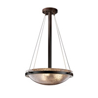 Fusion 3 Light Dark Bronze Pendant Bowl Ceiling Light in Mercury Glass