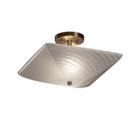 Fusion 2 Light 14 inch Antique Brass Semi-Flush Bowl Ceiling Light in Weave