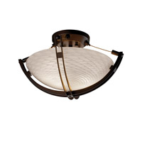 Fusion 2 Light Dark Bronze Semi-Flush Bowl Ceiling Light in Weave, Round Bowl