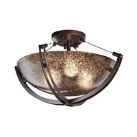 Fusion 3 Light 21 inch Dark Bronze Semi-Flush Bowl Ceiling Light in Mercury Glass