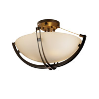 Fusion 3 Light 21 inch Dark Bronze Semi-Flush Bowl Ceiling Light in Opal