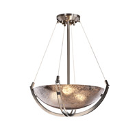 Fusion 3 Light 21 inch Brushed Nickel Pendant Bowl Ceiling Light in Mercury Glass