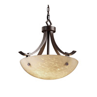 Fusion 3 Light Dark Bronze Pendant Bowl Ceiling Light in Pair of Cylinders, Droplet