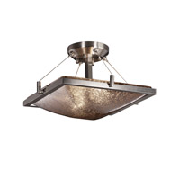 Fusion 2 Light 16 inch Brushed Nickel Semi-Flush Bowl Ceiling Light in Mercury Glass, Incandescent
