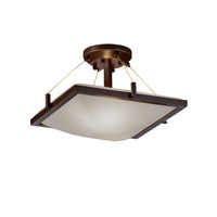 Justice Design FSN-9780-25-OPAL-DBRZ Fusion 2 Light 16 inch Dark Bronze Semi-Flush Bowl Ceiling Light in Opal, Incandescent photo thumbnail
