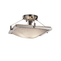 Justice Design FSN-9780-25-WEVE-NCKL Fusion 2 Light 16 inch Brushed Nickel Semi-Flush Bowl Ceiling Light in Weave