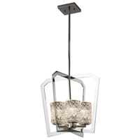 Justice Design GLA-8014-16-AMBR-CROM Veneto Luce 4 Light 18 inch Chandelier Ceiling Light in Polished Chrome, Amber (Veneto Luce), Incandescent