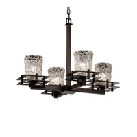 Metropolis 4 Light 25 inch Dark Bronze Chandelier Ceiling Light in Clear Textured (Veneto Luce), Cylinder with Rippled Rim