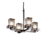 Justice Design Metropolis 4 Light Chandelier in Brushed Nickel GLA-8100-26-WTFR-NCKL
