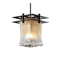 Justice Design GLA-8165-26-CLRT-MBLK-BKCD Veneto Luce 7 inch Matte Black Pendant Ceiling Light in Black Cord, Clear Textured (Veneto Luce), Square with Rippled Rim, Metropolis photo thumbnail