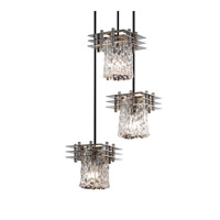 Justice Design Metropolis 3 Light Pendant in Brushed Nickel GLA-8168-16-CLRT-NCKL-BKCD