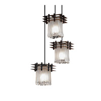 Justice Design Metropolis 3 Light Pendant in Dark Bronze GLA-8168-26-WTFR-DBRZ-BKCD