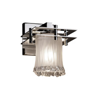 Metropolis 1 Light 7 inch Polished Chrome Wall Sconce Wall Light in White Frosted (Veneto Luce), Cylinder with Rippled Rim