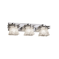 Metropolis 3 Light 27 inch Polished Chrome Vanity Light Wall Light in 8.5, Lace (Veneto Luce), Square Flared