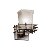 Metropolis 1 Light 7 inch Brushed Nickel Wall Sconce Wall Light in Whitewash (Veneto Luce), Square with Rippled Rim
