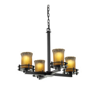 Justice Design Veneto Luce 4 Light Chandelier in Matte Black GLA-8200-16-GLDC-MBLK