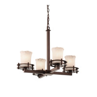 Justice Design Veneto Luce 4 Light Chandelier in Dark Bronze GLA-8200-16-WHTW-DBRZ