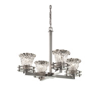 Justice Design Veneto Luce 4 Light Chandelier in Brushed Nickel GLA-8200-20-LACE-NCKL